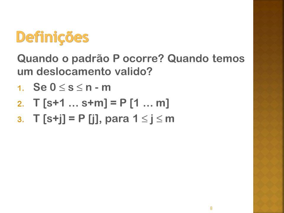 Definições Quando o padrão P ocorre Quando temos um deslocamento valido Se 0 ≤ s ≤ n - m. T [s+1 ... s+m] = P [1 ... m]